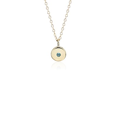 Mini Blue Topaz Birthstone Charm Pendant in 14k Yellow Gold - December (2mm)