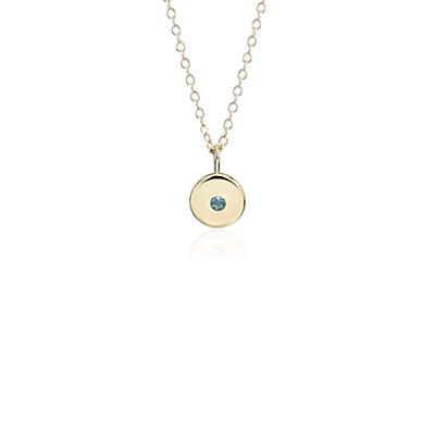 Mini Blue Topaz Birthstone Charm Pendant in 14k Yellow Gold - December (2mm)
