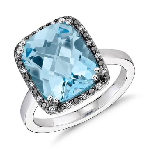 Robert Leser Blue Topaz and Diamond Halo Ring in 14k White Gold