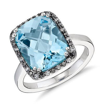 Bague diamant halo et topaze bleue Robert Leser en or blanc 14 carats (12 x 10 mm)