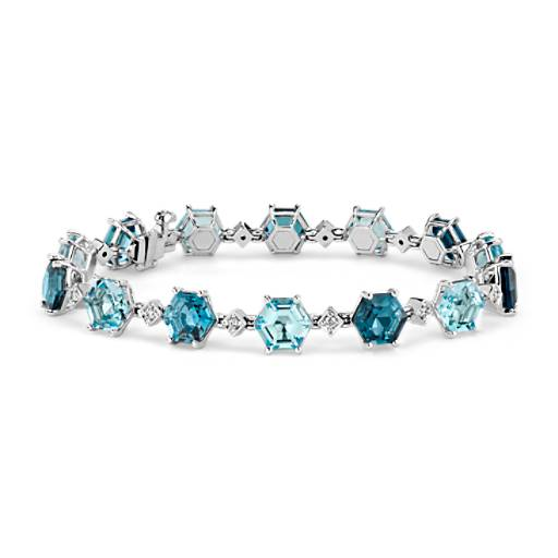 NEW Blue Topaz Hexagon Bracelet 14k White Gold