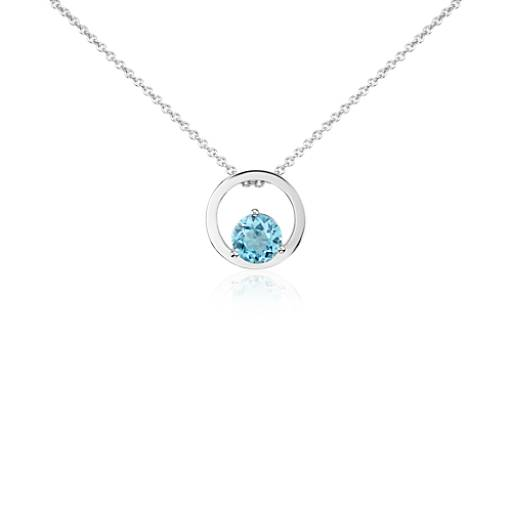Blue Topaz Circle Pendant in 14k White Gold