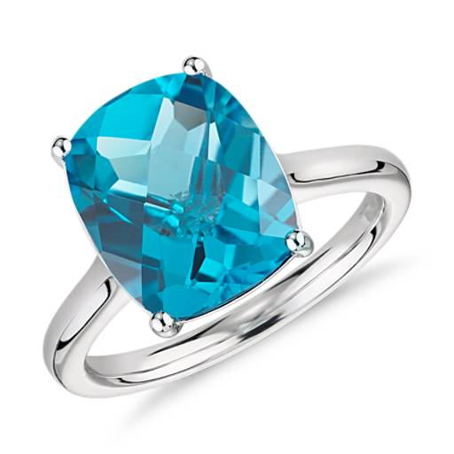Blue Topaz Cushion Cut Ring in 14k White Gold (11x9mm)