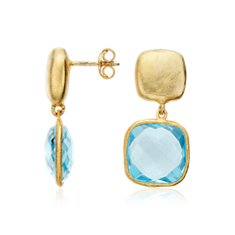 Organic Blue Topaz Dangle Earrings in Gold Vermeil