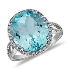 Bague cocktail diamant et topaze bleue en Or blanc 14 ct