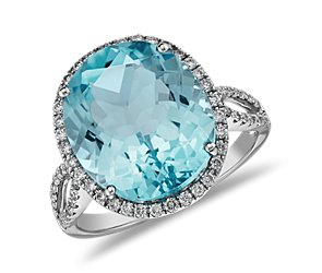 Blue Topaz and Diamond Cocktail Ring in 14k White Gold