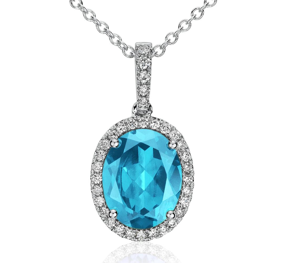 Blue Topaz and Diamond Pendant in 14k White Gold (10x8mm)