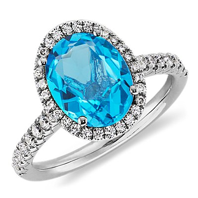 Blue Topaz and Diamond Ring in 18k White Gold (10x8mm)