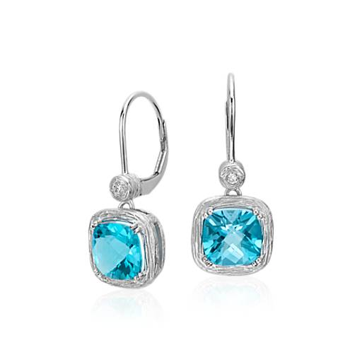 Blue Topaz and Diamond Cushion Drop Earrings in Brushed 14k White Gold