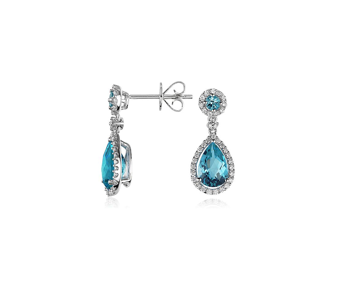 blue topaz and drop earrings in 14k white gold