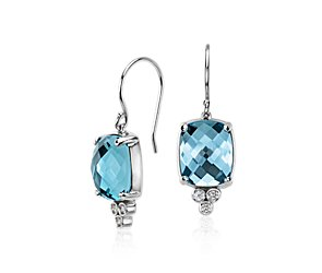 Robert Leser Trinity Blue Topaz and Diamond Earrings in 14k White Gold