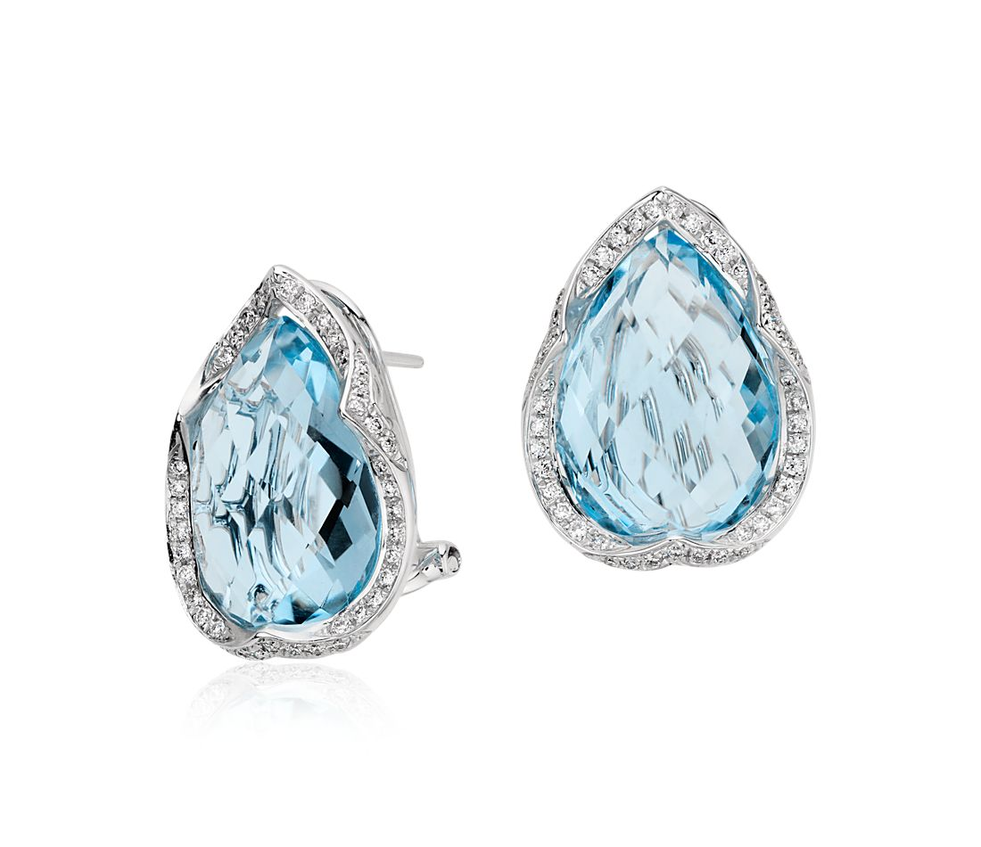 Blue Topaz and Diamond Pear Halo Earrings in 14k White Gold