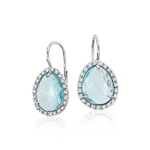 Sky Blue Topaz and Diamond Halo Earrings in 14k White Gold