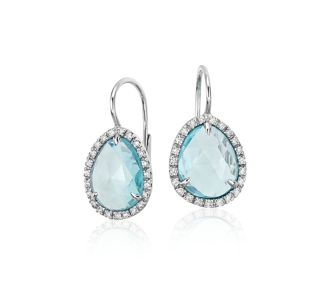 Sky Blue Topaz and Diamond Halo Earrings in 14k White Gold (11x9mm)
