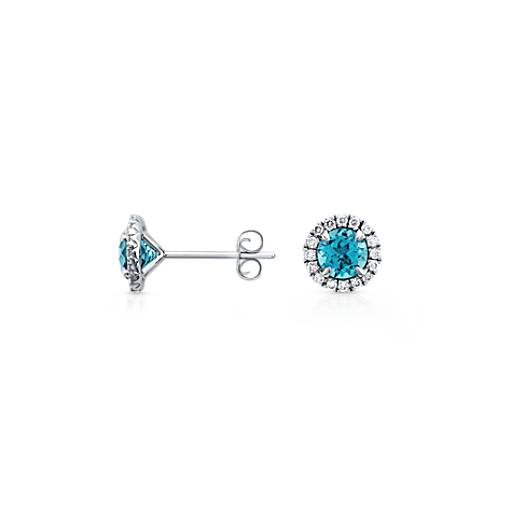 Blue Topaz and Micropavé  Diamond Earrings in 18k White Gold (5mm)