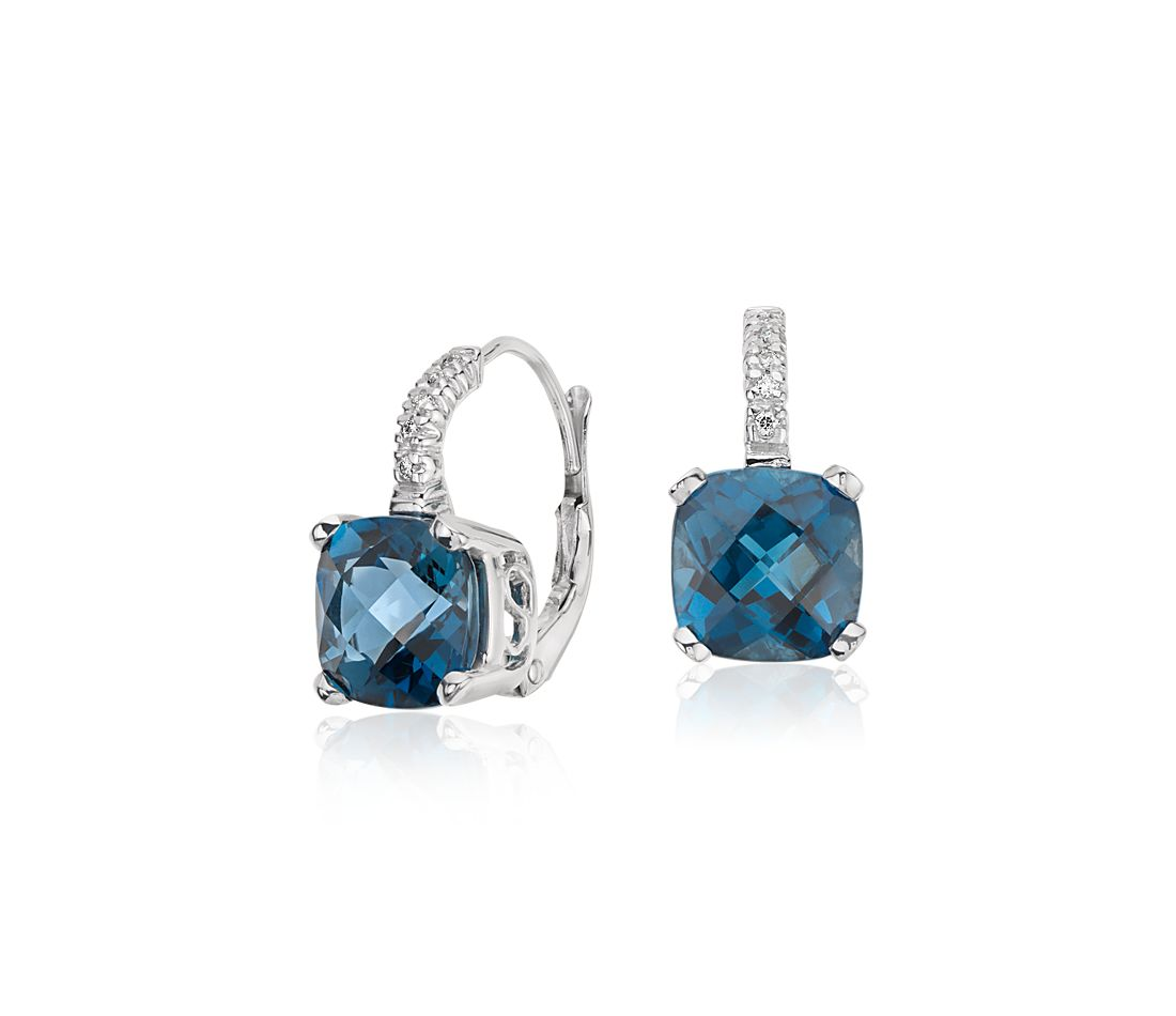 London Blue Topaz and Diamond Cushion Earrings in 14k White Gold (8x8mm)