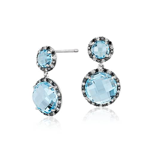 Blue Topaz and Diamond Halo Drop Earring in 14k White Gold