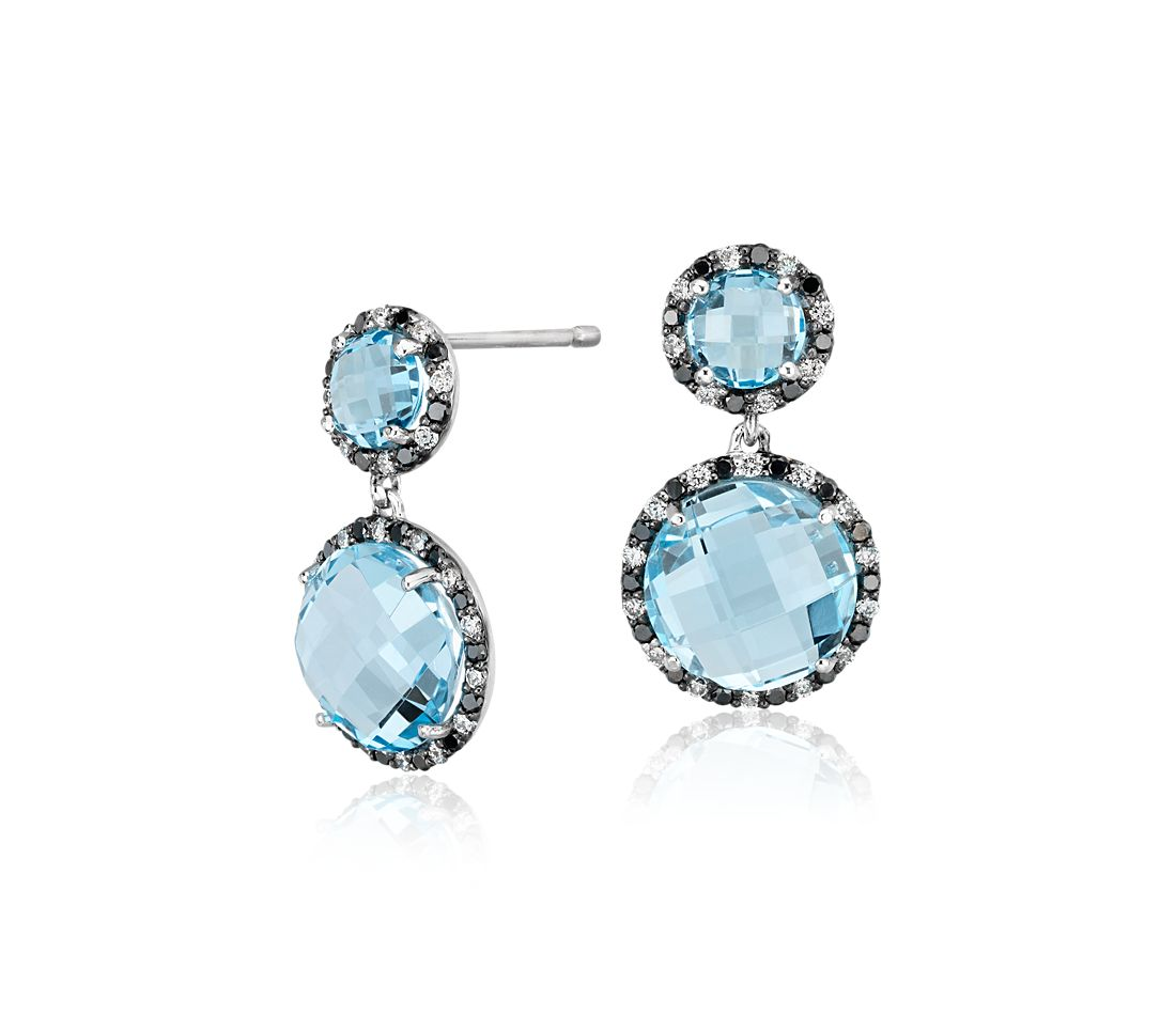 Robert Leser Pendants d'oreilles diamant halo et topaze bleue en or blanc 14 carats (9 mm)