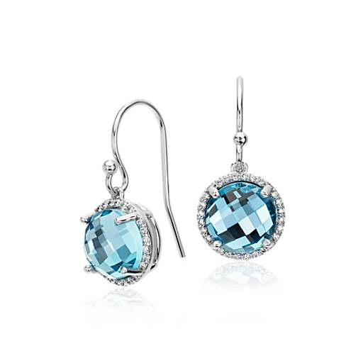 Blue Topaz and Diamond Halo Drop Earrings in 14k White Gold (8mm)
