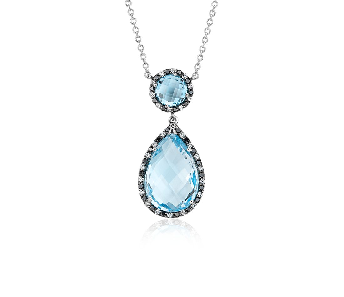 Robert Leser Blue Topaz and Diamond Halo Drop Necklace in 14k White Gold (15x10mm)