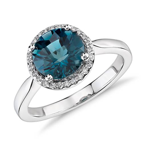 London Blue Topaz and Diamond Petite Halo Ring in 14k White Gold (8mm)