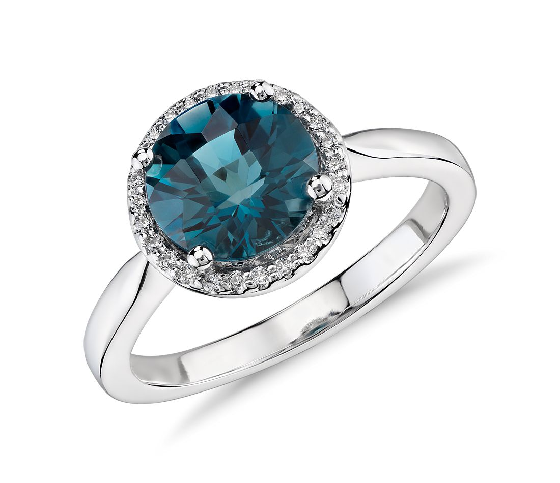 London Blue Topaz and Diamond Petite Halo Ring in 14k White Gold