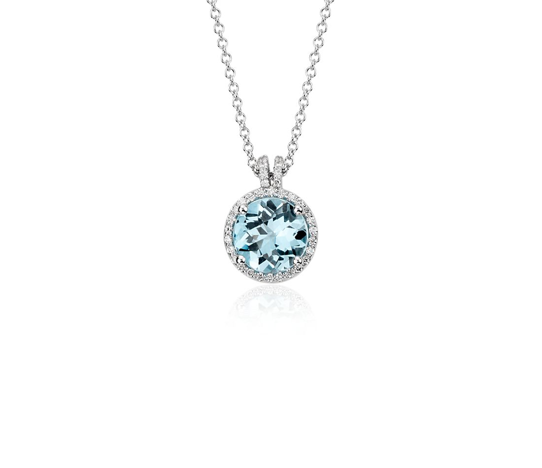 Blue Topaz and Diamond Petite Round Halo Pendant in 14k White Gold