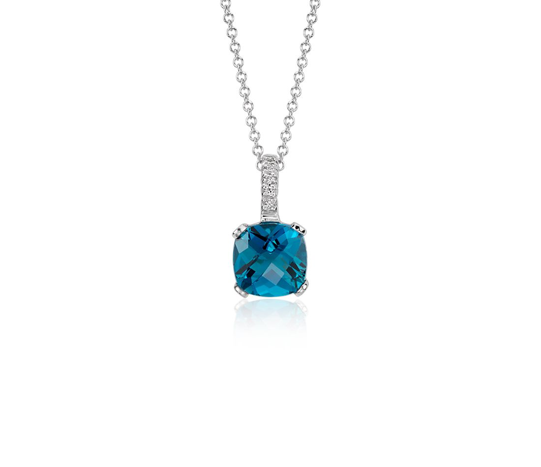 London Blue Topaz and Diamond Cushion Pendant in 14k White Gold