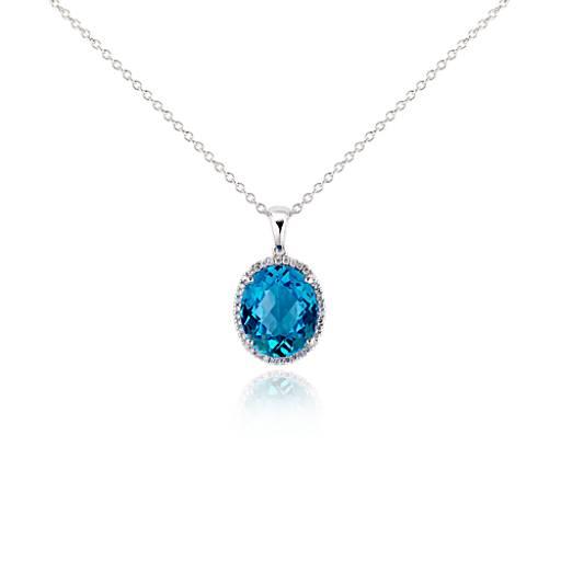Blue Topaz and Diamond Pendant in 18k White Gold (12x10mm)