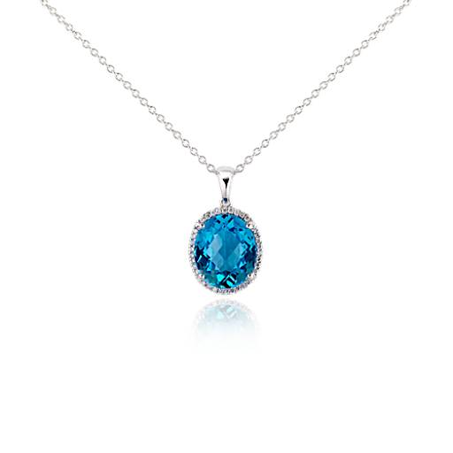 Blue Topaz and Diamond Pendant in 18k White Gold (12x10mm)