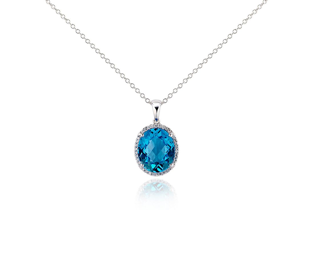 Blue Topaz and Diamond Pendant in 18k White Gold