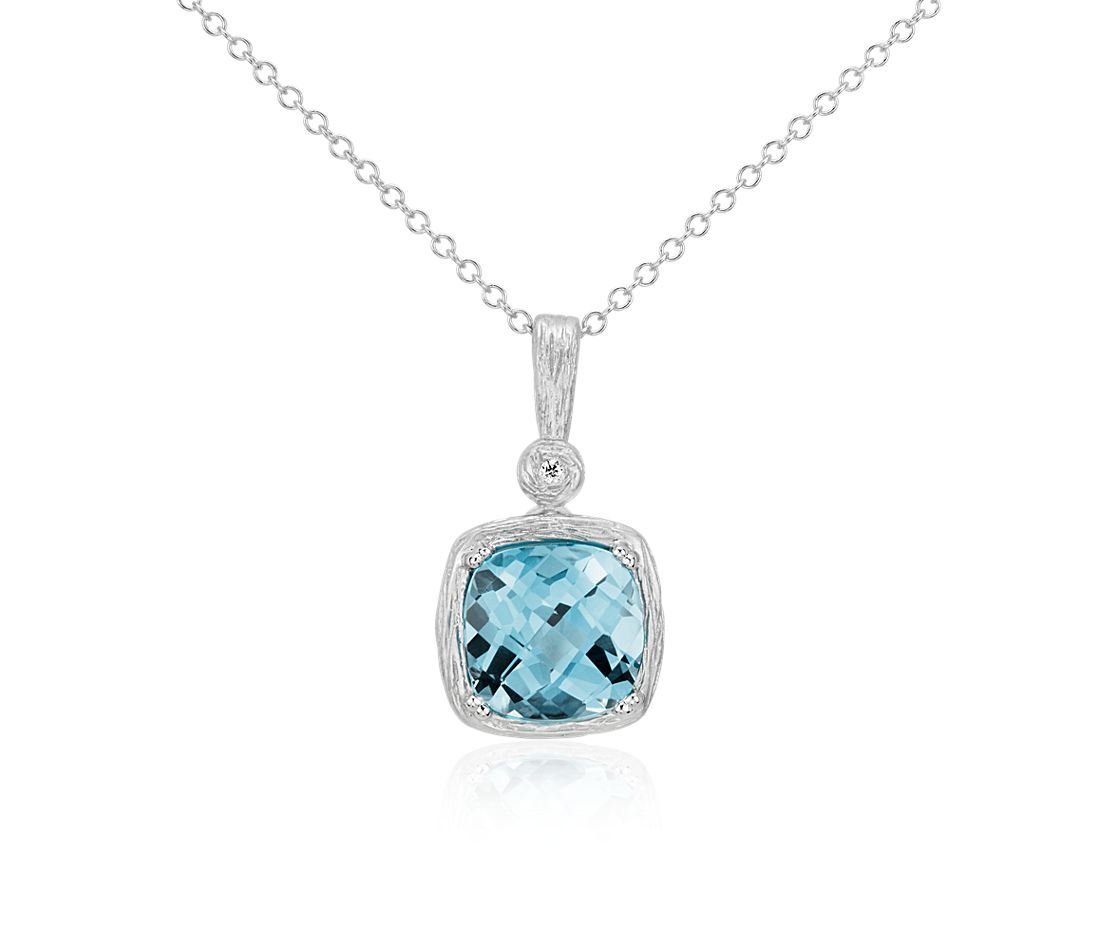 Blue Topaz and Diamond Cushion Pendant in Brushed 14k White Gold