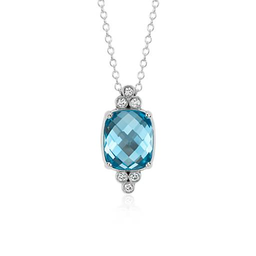 Robert Leser Trinity Blue Topaz and Diamond Pendant in 14k White Gold (12x10mm)
