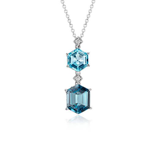 Blue Topaz and London Blue Topaz Hexagon Pendant in 14k White Gold