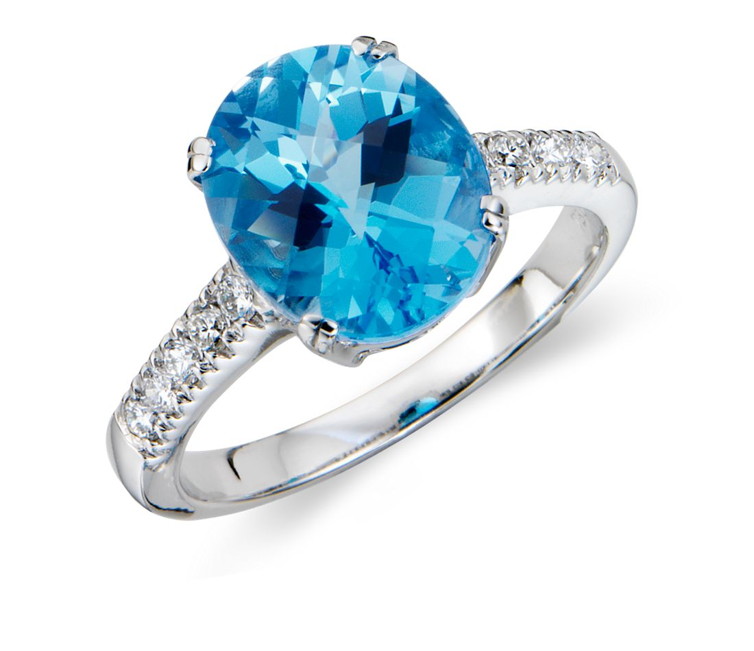 Blue Topaz and Diamond Ring in 18k White Gold
