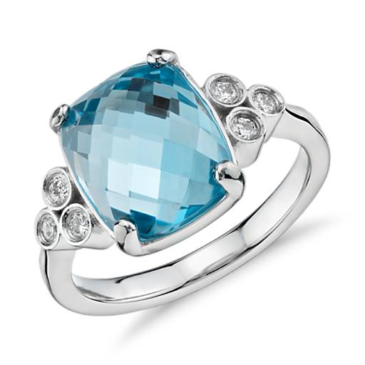 Robert Leser Trinity Blue Topaz and Diamond Ring in 14k White Gold (11x9mm)