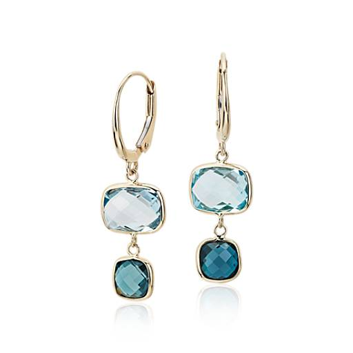 NEW Blue Topaz Ombre Drop Leverback Earrings in 14k Yellow Gold