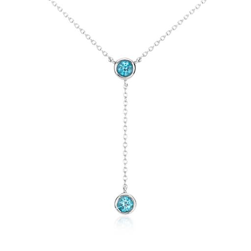 Collier goutte topaze bleue en argent sterling (4 mm)