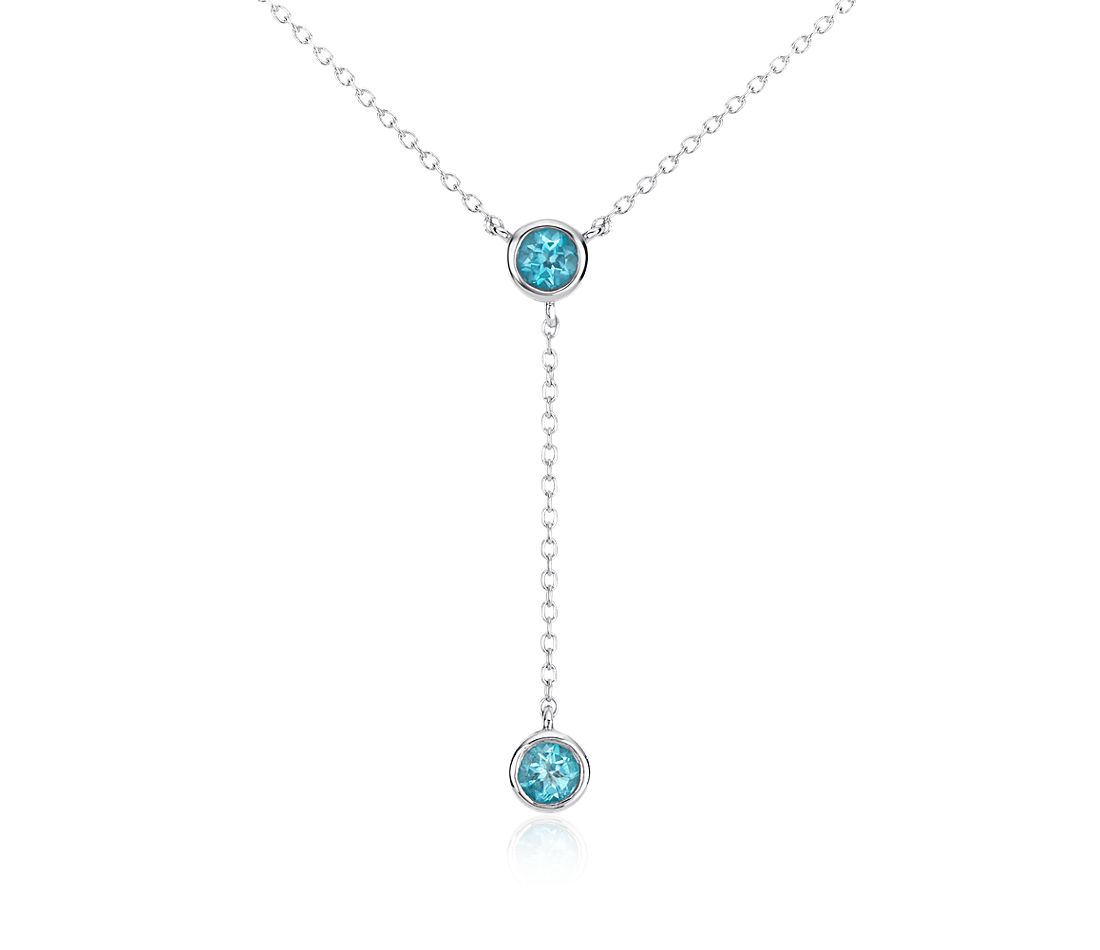 Blue Topaz Drop Necklace in Sterling Silver (4mm)