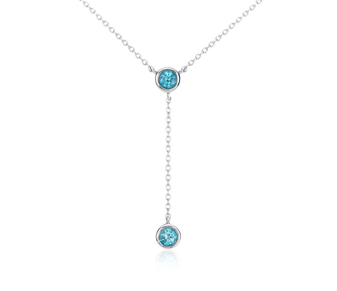 Collar con colgante de topacio azul en plata de ley (4 mm)