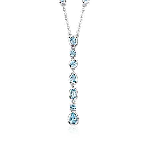 Blue Topaz Drop Necklace in Sterling Silver