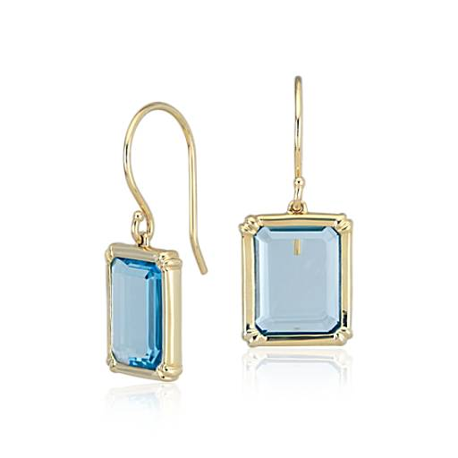 Windows Blue Topaz Earring in 14k Yellow Gold (11x9mm)