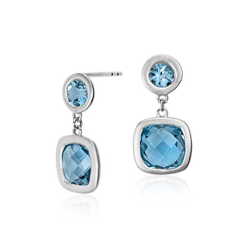 Blue Topaz Cushion Earrings in Satin-Finish Sterling Silver