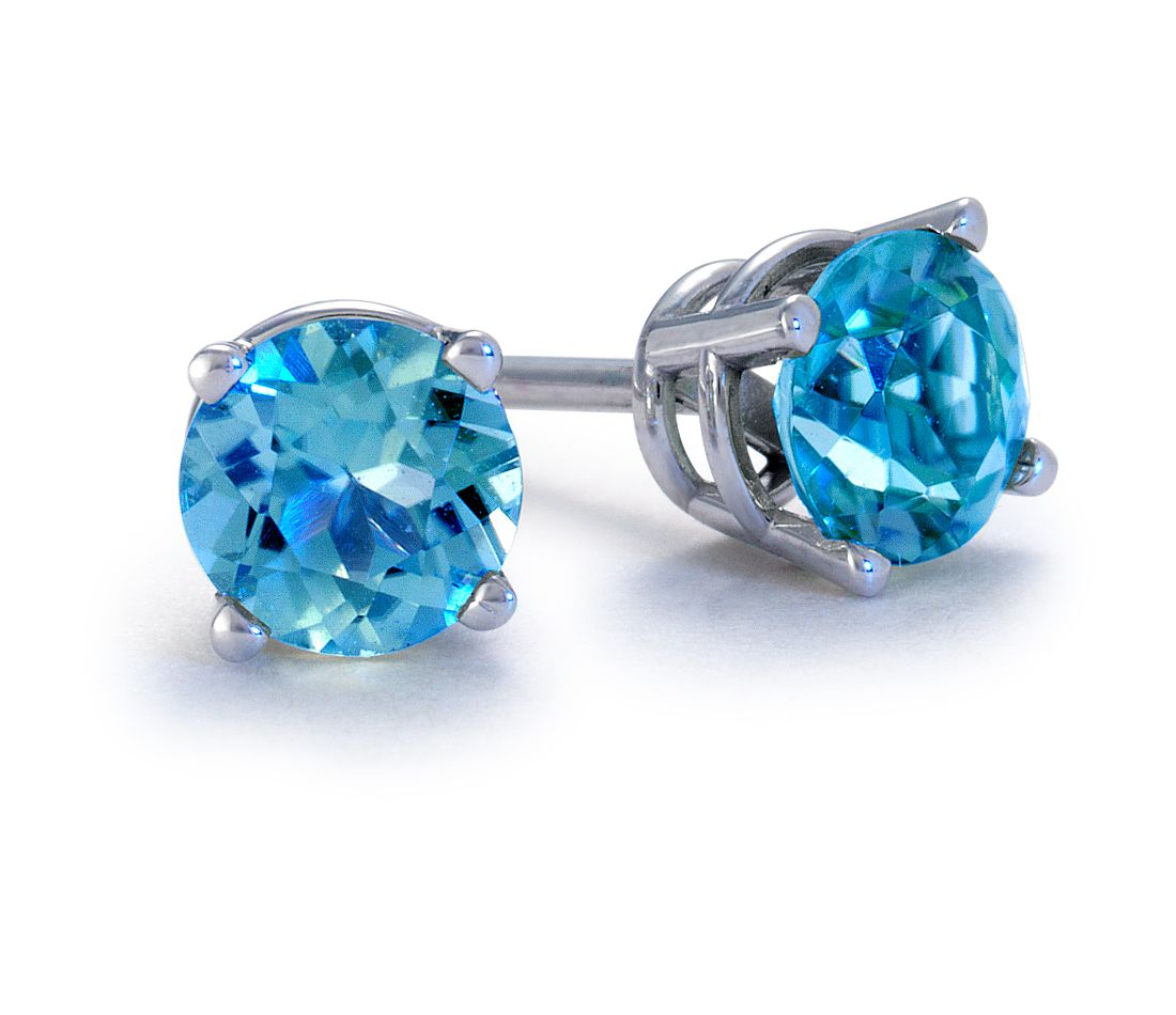 Blue Topaz Stud Earrings in 18k White Gold (5mm)