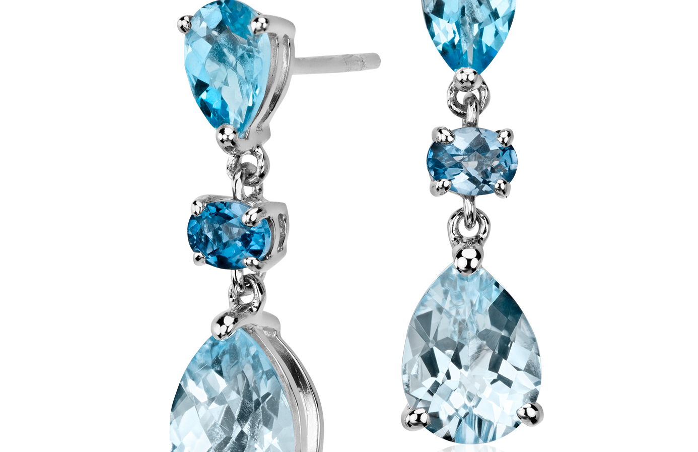Blue Topaz Earrings in 14k White Gold (8x6mm)