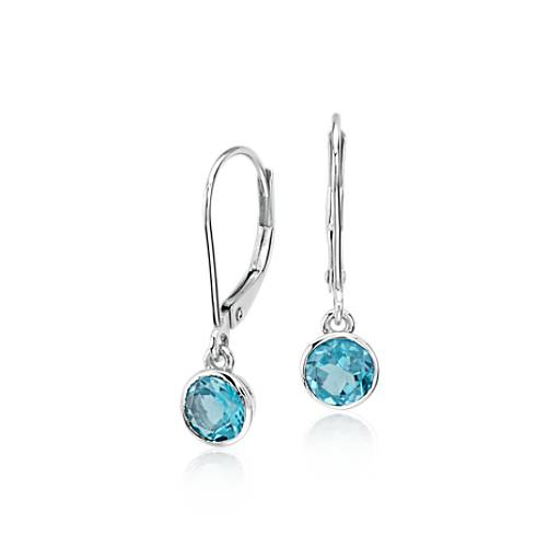 NEW Blue Topaz Bezel Drop Earrings in 14k White Gold (5mm)