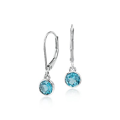 Blue Topaz Bezel Drop Earrings in 14k White Gold (5mm)