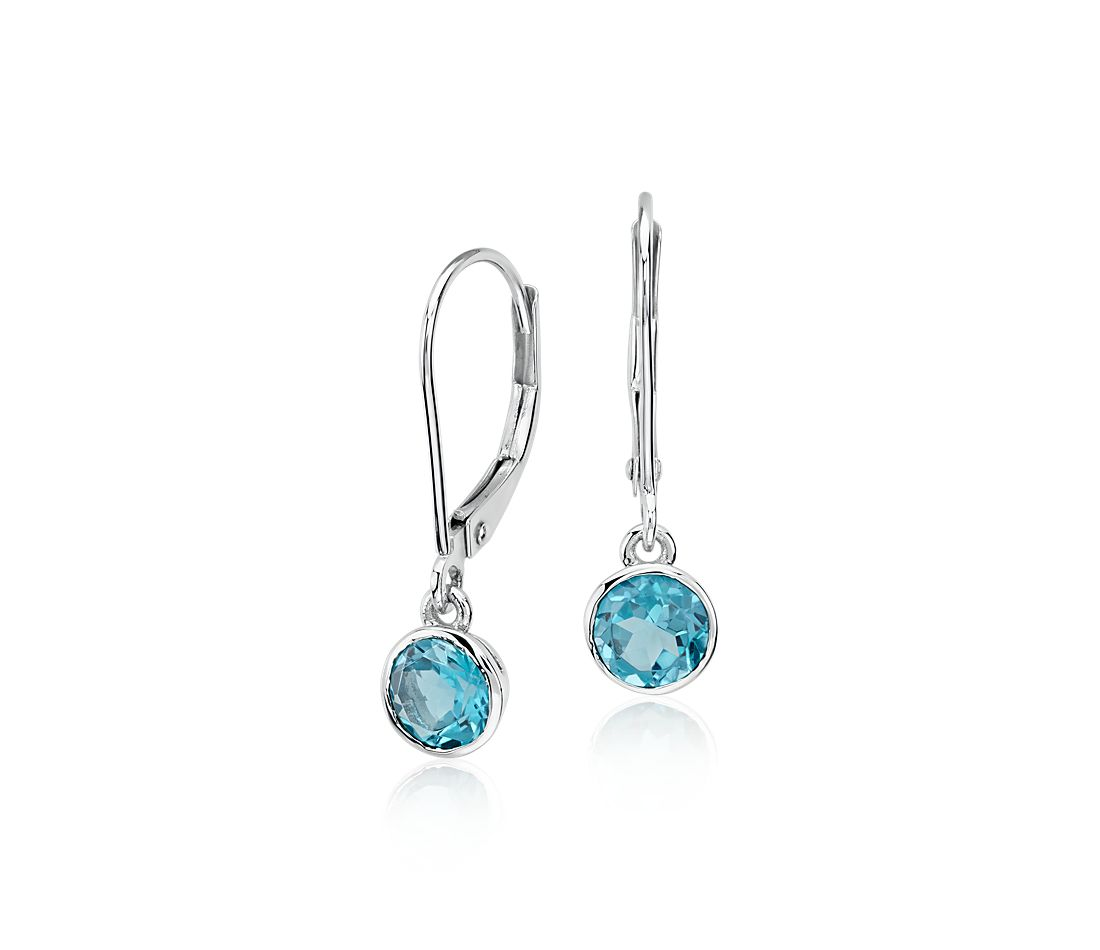 blue topaz bezel drop earrings in 14k white gold 5mm