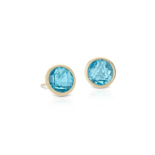 Blue Topaz Stud Earrings in 14k Yellow Gold (7mm)