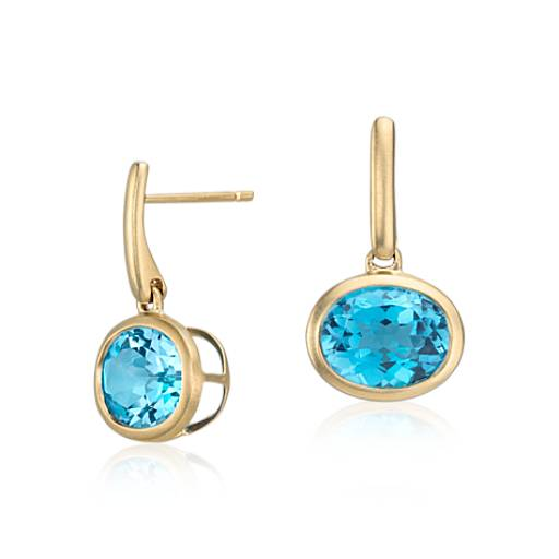 Pendants d'oreilles topaze bleue en or jaune 14 carats (10x8 mm)